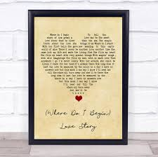 Andy Williams (Where Do I Begin) Love Story Vintage Heart Song Lyric Quote  Music Print - The Card Zoo