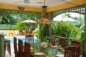 have lunch on the covered poolside verandah