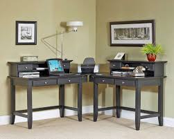 home office furniture corner desk. Guide To Choosing Teak Home Office Furniture : Mesmerizing Twin Tables Combined Into One Which Has Four Drawers And Tall Desk Lamp Also Installed Below Two Corner