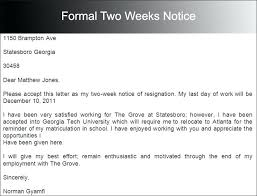 Formal Two Weeks Notice Sample Download 2 Letter Resignation With ...