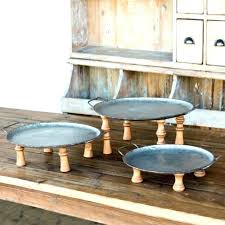 2 tier wooden tray stand wood and metal tiered footed display riser set of 3 serving