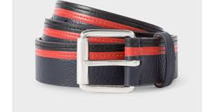 paul smith men s navy black and red stripe leather belt in blue for men lyst