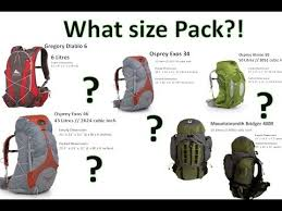 Backpack Volume Chart What Size Hiking Backpack Visual Comparison By Onza04 Youtube