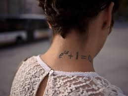 Side Neck Mathematical Tattoo For Girls