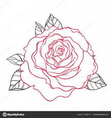 černobílé Tetování Styl Růže S Listy Izolované Na Bílém Stock