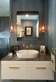 powder room lighting chandelier view full size ceiling above mirror cha