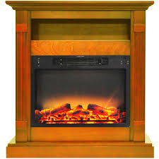 electric fireplace with enhanced log display and teak mantel