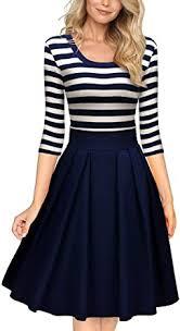Miusol Women's <b>Casual</b> Navy <b>Style</b> Stripe <b>Scoop Neck</b> Party Swing ...