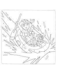 Kleurplaten Paradijs Kleurplaat Diego En Baby Jaguar In Een Rubberboot