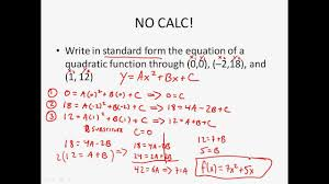 algebra 2 writing quadratic functions given 3 points