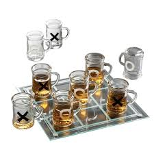game night drinking tic tac toe game set with mini beer mugs com