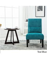 pillow chair. pisano chenille fabric armless contemporary accent chair with matching kidney pillow (teal), blue