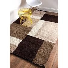 color block rug plush beige brown and ivory geometric modern contemporary color block area rug