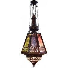 souk lantern antique filigree metalwork with coloured glass