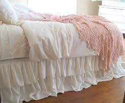 pink ruffled bed skirt shabby chic bedding romantic tiered ruffle dust ruffle bed skirt queen size
