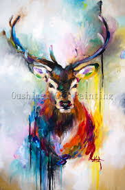 Small Picture X Series 100Handmade Colorful Animal Deer Portrait Oil Painting
