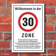 Schild Zone 30 Geburtstag Geschenk Spaßschild Lustig Spruch 3mm Alu