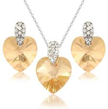 details about swarovski elements crystals gold brown amber heart pendant earrings set uk item