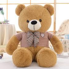 Big Light Brown Teddy Bear Small Big Large Light Brown Teddy Bear With Khaki Sweater