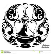 зодиак вектора Tattoo знака конструкции водолея иллюстрация вектора