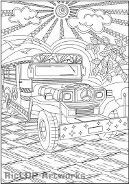 Small Picture Printable Philippine Jeepney Coloring Page for Adult Colouring