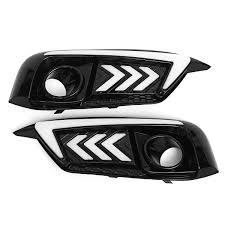 Dual Fog Lights Car Led Daytime Running Lights Drl Turn Signal Fog Lamps Dual Color For Honda Civic 10th 16 18