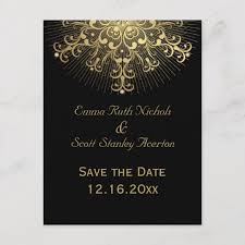 Winter Wedding Save The Date Gold Snowflake Black Winter Wedding Save The Date Announcement