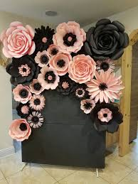 Pink Paper Flower Decorations Pink And Black Backdrop Paper Flowers Diy Giant Paper