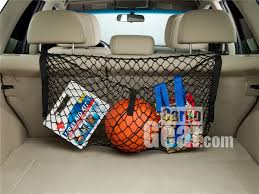 small cargo net for back seat installed on headrests