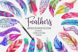 feather patterns watercolor feathers clipart pattern poster wedding clipart