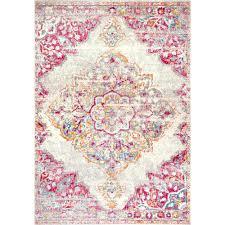 nuloom vintage medallion rosendo pink 8 ft x 10 ft area rug