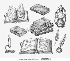 handdrawn vine books sketch old stock vector 471101525 shutterstock