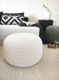 Floor Pillows And Poufs Black White Round Floor Pouf Ottoman Knit Ottoman Foot