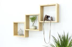 cube wall shelves set of three solid oak square by com 3 floating thick spaces
