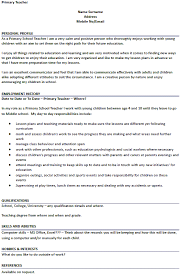 primary teacher cv