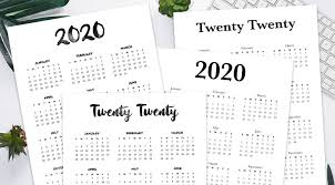Free 2020 Calendar Printable One Page Lovely Planner
