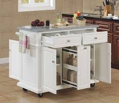 Simple Kitchen Ideas with White Wheels Kitchen island Ideas, Gray Marble Kitchen  Island Counter Top, and Double Drawers White Kitchen Island