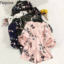 Neploe <b>Boho</b> Floral Print Jumpsuits <b>Women</b> Chiffon V Neck Flare ...