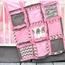pink elephant crib bedding set baby gray nursery wonderful girl boutique twin