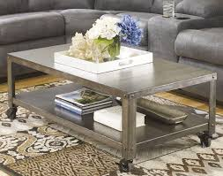 Industrial Wood Coffee Table with Casters
