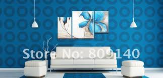 oil painting canvas blue flower modern decoration high quality handmade home office hotel wall art decor new gift free shipping blue office decor
