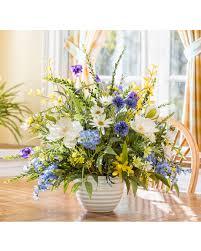 Silk Arrangements For Home Decor Magnolia Larkspur Daisy Silk Arrangement For Home Decor At