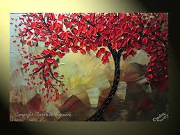 original abstract tree painting textured red tree of life abstract fl painting red maple blue brown palette knife 36x24 christine