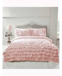flamenco ruffle blush pink single duvet