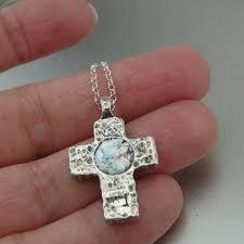 details about hadar designers sterling silver genuine antique roman glass cross pendant as