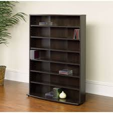 Cherry Wood Dvd Storage Cabinet Contemporary 6 Shelf Bookcase Multimedia Storage Rack Tower In