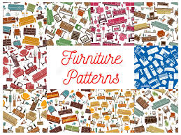 patterns furniture. Home Furniture Seamless Pattern Backgrounds Set Of Living Room Interior With Sofa, Chair, Armchair Patterns