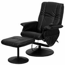 massaging black leather recliner ottoman