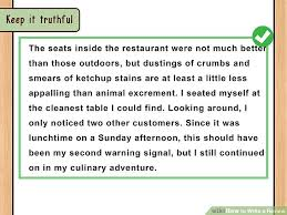 restaurant review examples how to write a review with pictures wikihow