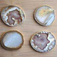 set of 4 gold rimmed agate coasters plated coasters natural grey agate coasters m12